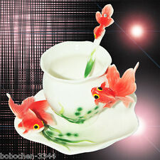 Art Porcelain Ceramic Goldfish Butterfly Coffee Tea Cup Sauce Spoon + Gift Box