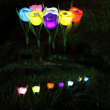 Lot Solar Powered Tulip Flower LED Light Outdoor Yard Garden Path Landscape Lamp