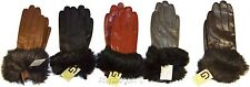 Leather Gloves Real Fox fur Women's Gloves, Warm Lined Winter Dress Gloves BNWT