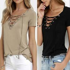 Womens Casual Evening Cotton Tops Blouse Short Sleeve Loose Pullover T-Shirt