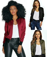 NEW LADIES BOMBER CROP JACKET WOMEN S ZIP UP BIKER VINTAGE COAT JACKET 8 - 14
