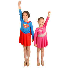 Classic Pink Supergirl Hero Superman Fancy Dress Up Girl Kids Costume Halloween