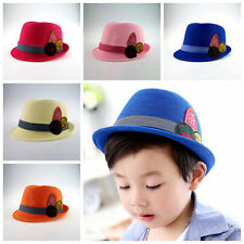 Child Baby Girls Boys Chic Hat Fedora Hat Jazz Cap Photography Trilby Topper FN