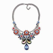 black chain crystal pendant chunky statement colorful flower necklace for women
