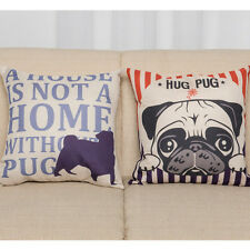 Dog Puppy Pug Printing Pillow Case Words Letters Cushion Cover Home Office Decor