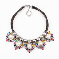 black chain pearl colorful crystal flower statement pendant necklace for women