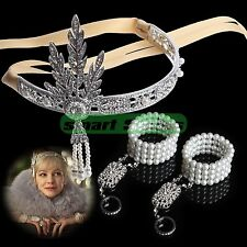 The Great Gatsby Hand Bracelet Bangle Ring Rhinestone Crystal Pearls Tiara Crown