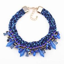 Cotton Rope Braided Bead Chunky Statement Pendant Choker Necklace For Women 2016