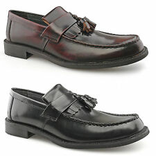 Mens New Hi Shine Leather Oxblood Black Toggle Saddle Loafer Shoes 6 - 12