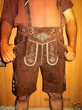 Real Leather German LEDERHOSEN TrachtenBavarian Short+SUSPENDER,Men,Ripe Ind