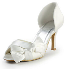 EP2046 Ivory Satin Peep Toe Bow Ruched High Heel Wedding Bridal Court Shoes