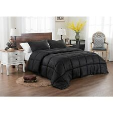 3PC REVERSIBLE SOLID EMBOSS STRIPED COMFORTER SET- OVERSIZED OVERFILLED BLACK