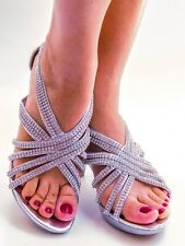 Women's Heel Rhinestone Strappy Sandals Shoes Party Fashion Sexy Dress Embellish