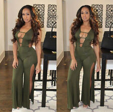 Sexy Women Sleeveless High slit Wide Leg Long Jumpsuit Rompers Trousers Clubwear