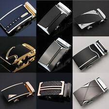 Fashion Mens Belt Black Automatic Buckle Genuine Leather Waist Strap Belts 110CM