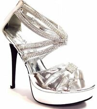 WOMEN  RHINESTONE STRAPPY OPEN TOE PLATFORMS STILETTO HEELS WEDDING  W ZIPPER
