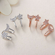 Fashion Moon Star Ear Stud Crystal Ear Clip Chic Elegant Rhinestone Girl Earring