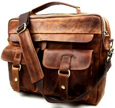 New Men Vintage Genuine Leather Cowhide Briefcase Shoulder Messenger Laptop Bag