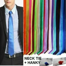 MENS 8CMS TIE POCKET HANKY Plain Solid Colour Neck Necktie Wedding Business 8cm