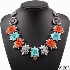 flower alloy chunky statement chain pendant bead chain necklace for women 2016