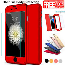 Luxury 360° Hybrid Acrylic Hard Case+Tempered Glass Cover F iPhone 7 6S Plus /5S