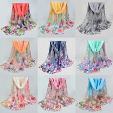 Women Long Soft Silk Chiffon Scarf Summer Thin Wrap Shawl Scarves Rose Flower