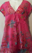 NWT Pink Blue Yellow Turquoise Floral Print Short Sleeve Top Tunic Small Medium