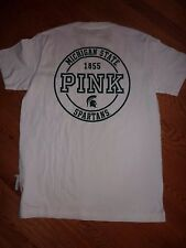 VICTORIAS SECRET PINK MICHIGAN STATE SPARTANS CAMPUS POCKET SCOOPNECK TEE NWT