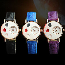 Girl's Cheerful Ellipse Love Heart Faux Leather Band Quartz Student Wrist Watch