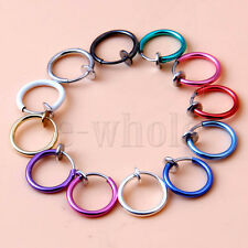 Painless Non Piercings Clip On Fake Prank Rings Ear Nose Lip Rings Hoop 13mm EW