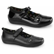 Hush Puppies MARA Girls Kids Leather Touch Close Mary Jane School Shoes Black