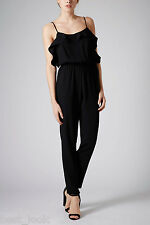 Topshop Ruffle Detail Strappy Jumpsuit in Black