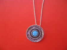 Opal Necklace Round Hammered Sterling Silver Pendant! Modern Ball Chain Jewelry