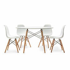 Replica Retro Eames DSW Eiffel WHITE Round 120CM Dining Table Set 4 or 6 Chairs