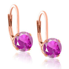 Rose Gold Earrings Created Gemstone in Sterling Silver, Ruby Sapphire Emerald