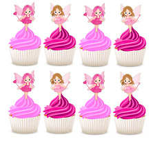 #642. Fairy Edible Pink Wafer Cupcake Cake Toppers  Birthday