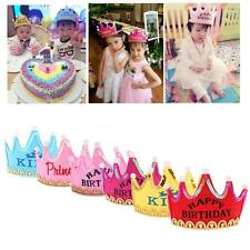 Birthday Party Crown Hat King Princess Head Band Cap with LED Light f/Decor D4B0