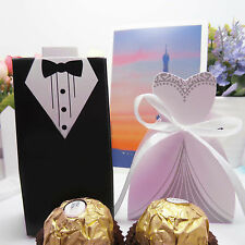 50Pcs Wedding Favor Candy Box Bride & Groom Dress Tuxedo Party Ribbon Gifts