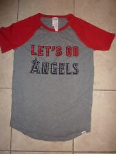 "VICTORIAS SECRET PinK MLB CALIFORNIA ""ANGELS"" OF ANAHEIM VNECK TEE S NWT"