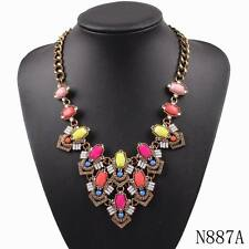 colorful gold chain crystal acrylic chunky statement necklace for women jewelry