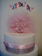 butterfly pearl feather  birthday wedding cake topper decoration celebration