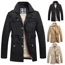 Men's Causal Stylish Slim Fit Cotton Coat Outerwear Overcoat Trench Jacket Tops
