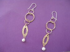 Dangle Drop Goldfill Earrings Gold Hoops with Freshwater Pearl Bridal Jewelry