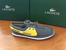 "Lacoste Men's ""L.andsailing 116"" SPM Lace Up Boat Shoe In Grey / Yellow"