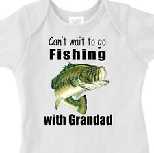 """Can't Wait To Go FISHING"" With GRANDAD Youth or Infant BASS FISH T-Shirt"