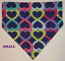 Mulitcolor Hearts Black Purple Beige Over Collar Slide On Pet Dog Bandana Scarf