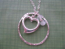 Sterling Silver Eternity Circle Necklace Heart Charm Crystal Beads! Long Chain!
