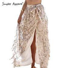 Simplee Sexy Women Party Evening Beach Gold Sequin Mesh Side Split Long Skirt