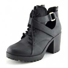 Womens Block Heeled Cut Out Ankle Boot Ladies Chelsea Ankle Boots Black, Size UK