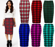 Womens Ladies Tartan Print Red/White/Black Bodycon Midi Pencil Skirt 8-14